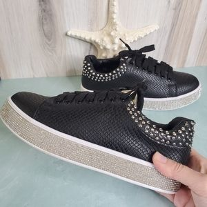 New! Black and Silver Lace Up Rhinestone Sneakers